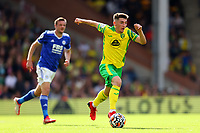 28th August 2021; Carrow Road, Norwich, Norfolk, England; Premier League football, Norwich versus Leicester; Billy Gilmour of Norwich City sprints away from Jamie Vardy of Leicester City