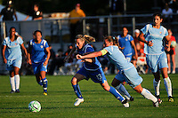 Kristine Lilly (13) of the Boston Breakers and Christie Rampone (3) of Sky Blue FC battle for the ball. Sky Blue FC defeated the Boston Breakers 2-1 during a Women's Professional Soccer match at Yurcak Field in Piscataway, NJ, on May 31, 2009.