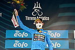 Wout Van Aert (BEL) Team Jumbo-Visma retains the race leaders Maglia Azzurra at the end of Stage 2 of Tirreno-Adriatico Eolo 2021, running 202km from Camaiore to Chiusdino, Italy. 11th March 2021. <br /> Photo: LaPresse/Gian Mattia D'Alberto  | Cyclefile<br /> <br /> All photos usage must carry mandatory copyright credit (© Cyclefile | LaPresse/Gian Mattia D'Alberto)