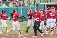STANFORD, CA -- April 27, 2019. The Stanford Cardinal women's softball team falls to the Arizona State Wildcats 7-4 at the Smith Family Stadium.