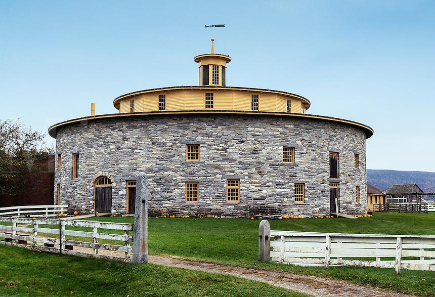 Shaker round stone barn at Hancock Shaker Village, Hancock, Massachusetts