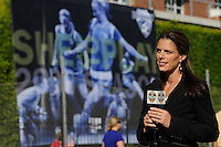 Fox Soccer Channel reporter Jenn Hildreth. Sky Blue FC defeated the Boston Breakers 2-1 during a WPS regular season match at Harvard Stadium in Boston, MA, on July 12, 2009.