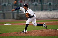 Delvin Capellan (25) of the Columbia Fireflies was starting pitcher in a game against the Charleston RiverDogs on Tuesday, May 11, 2021, at Segra Park in Columbia, South Carolina. (Tom Priddy/Four Seam Images)