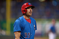 Philadelphia Phillies Matt Joyce (35), on rehab assignment with the Clearwater Threshers, on deck during a game against the Dunedin Blue Jays on May 18, 2021 at BayCare Ballpark in Clearwater, Florida.  (Mike Janes/Four Seam Images)
