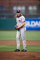 Round Rock Express starting pitcher A.J. Griffin (56) gets ready to deliver a pitch during a game against the Memphis Redbirds on April 28, 2017 at AutoZone Park in Memphis, Tennessee.  Memphis defeated Round Rock 9-1.  (Mike Janes/Four Seam Images)