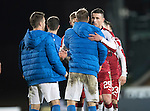 St Johnstone v Rangers…28.12.16     McDiarmid Park    SPFL<br />Former saint Michael O'Halloran gets a hug from David Wotherspoon at full time<br />Picture by Graeme Hart.<br />Copyright Perthshire Picture Agency<br />Tel: 01738 623350  Mobile: 07990 594431