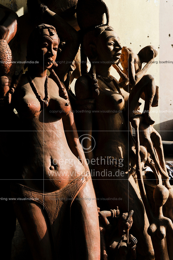 MALI, Bamako, African Souvenirs shop, wooden ethno style  figures, topless tribe woman