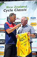Del Woodford interviews Karl Taucher (Trusthouse trustee) after stage five of the NZ Cycle Classic UCI Oceania Tour in Masterton, New Zealand on Tuesday, 26 January 2017. Photo: Dave Lintott / lintottphoto.co.nz