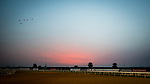 DUBAI, UAE - MARCH 23: Sunrise at the Meydan Race Track in preparation for the Dubai World Cup Race on March 23, 2017 in Dubai, UAE. (Photo by Douglas DeFelice/Eclipse Sportswire/Getty Images)