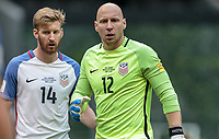 Mexico City, Mexico - Sunday June 11, 2017: Tim Ream, Brad Guzan during a 2018 FIFA World Cup Qualifying Final Round match with both men's national teams of the United States (USA) and Mexico (MEX) playing to a 1-1 draw at Azteca Stadium.