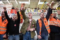 "Switzerland. Canton Ticino. Bellinzona. (Left to right) Sandro Marci, Donatello Poggi, Gianni Frizzo, Ivan Cozzaglio, David Simonetta, all members of the committee "" Giù le mani dall'Officina di Bellinzona"". Gianni Frizzo, is the president of the committee. Railway workers have decided to stop the strike and the building's occupation.Officine FFS. Stabilimento Industriale SBB CFF FFS Cargo. 7.04.08 © 2008 Didier Ruef"