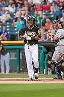 Alfredo Marte (21) of the Salt Lake Bees at bat against the Tacoma Rainiers in Pacific Coast League action at Smith's Ballpark on August 31, 2015 in Salt Lake City, Utah. Salt Lake defeated Tacoma 6-5.  (Stephen Smith/Four Seam Images)