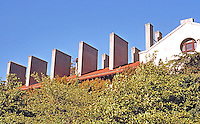 """Berkeley CA:  Hearst Mining Building, Multiple Chimneys which """"house fume hoods and furnace flues. Built independently of building structure. Photo '84."""