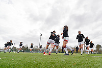 players of OHLeuven  pictured during the warming up of a female soccer game between Club Brugge Dames YLA and Oud Heverlee Leuven on the first matchday in Play-Off 1 of the 2020 - 2021 season of Belgian Scooore Womens Super League , saturday 3 th April 2021  in Brugge , Belgium . PHOTO SPORTPIX.BE | SPP | DIRK VUYLSTEKE