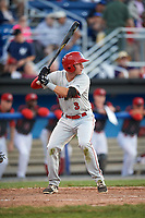 Auburn Doubledays second baseman Branden Boggetto (3) at bat during a game against the Batavia Muckdogs on June 19, 2017 at Dwyer Stadium in Batavia, New York.  Batavia defeated Auburn 8-2 in both teams opening game of the season.  (Mike Janes/Four Seam Images)