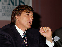 October 1996 File Photo, Claude Blanchet, President, Fond de Solidarite de la FTQ at a news conference.