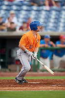 St. Lucie Mets left fielder Anthony Dimino (13) hits a single during a game against the Clearwater Threshers on August 11, 2018 at Spectrum Field in Clearwater, Florida.  St. Lucie defeated Clearwater 11-0.  (Mike Janes/Four Seam Images)