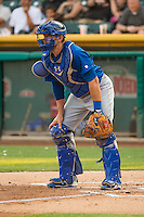 Iowa Cubs catcher Taylor Teagarden (21) on defense against the Salt Lake Bees in Pacific Coast League action at Smith's Ballpark on August 21, 2015 in Salt Lake City, Utah. The Bees defeated the Cubs 12-8.  (Stephen Smith/Four Seam Images)