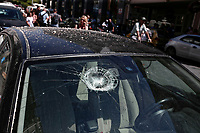 Pictured: A car has been damaged by falling debris in the centre of Athens, Greece. Friday 19 July 2019<br /> Re:A 5.3-magnitude has struck Greece, 14 miles northwest of Athens shortly after 2pm local time.