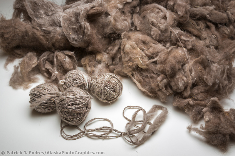 Balls of yarn spun from the hair of muskox, called qiviut.