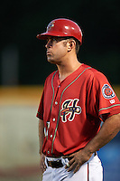 Harrisburg Senators coach Devin Ivany (11) during a game against the New Hampshire Fisher Cats on July 21, 2015 at Metro Bank Park in Harrisburg, Pennsylvania.  New Hampshire defeated Harrisburg 7-1.  (Mike Janes/Four Seam Images)