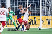 FOXBOROUGH, MA - JUNE 26: Alisson moves to intercept a ball close to the North Texas SC goal during a game between North Texas SC and New England Revolution II at Gillette Stadium on June 26, 2021 in Foxborough, Massachusetts.
