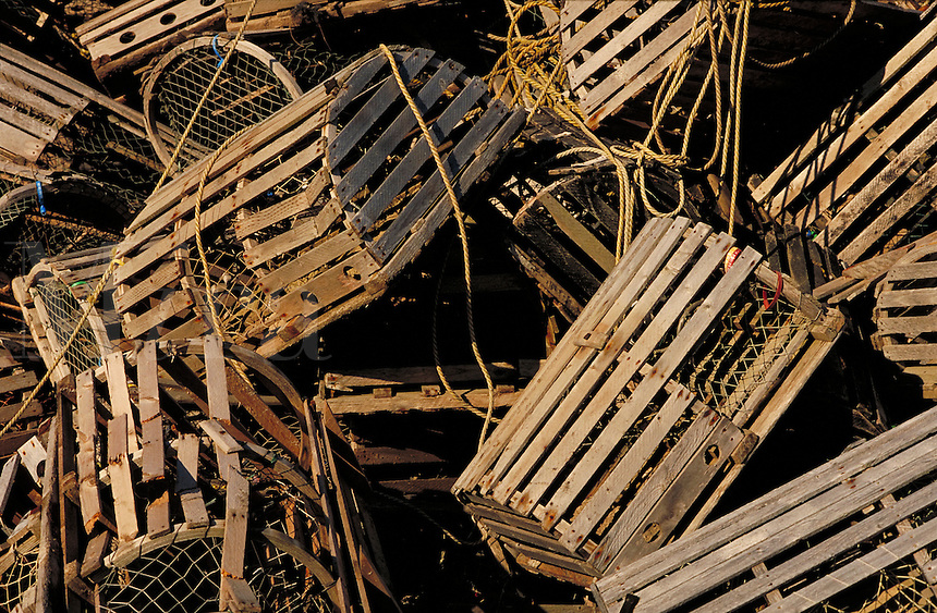 lobster traps. Maine, coastal.