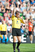 Referee Mr Tim Wigglesworth during the Aviva Premiership match between Harlequins and Sale Sharks at The Twickenham Stoop on Saturday 15th September 2012 (Photo by Rob Munro)