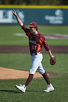 Virginia Tech Hokies relief pitcher Graham Firoved (51) points to the sky following the final out during the game against the Boston College Eagles at English Field on April 3, 2021 in Blacksburg, Virginia. (Brian Westerholt/Four Seam Images)