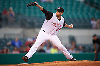 Seattle Mariners pitcher James Paxton (38) delivers a pitch while on rehab assignment with the Arkansas Travelers during a game against the Frisco RoughRiders on May 26, 2017 at Dickey-Stephens Park in Little Rock, Arkansas.  Arkansas defeated Frisco 4-2.  (Mike Janes/Four Seam Images)
