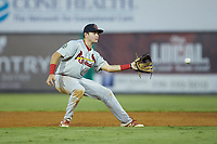 Johnson City Cardinals shortstop Mateo Gil (23) waits for a throw at second base during the game against the Burlington Royals at Burlington Athletic Stadium on September 4, 2019 in Burlington, North Carolina. The Cardinals defeated the Royals 8-6 to win the 2019 Appalachian League Championship. (Brian Westerholt/Four Seam Images)