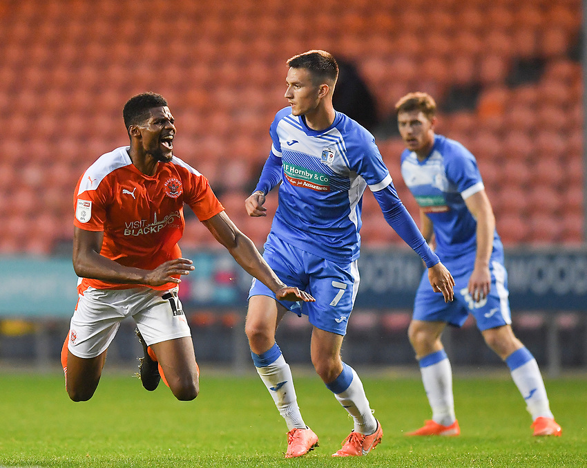 Blackpool's Michael Nottingham is fouled by Barrow's Callum Gribbin<br /> <br /> Photographer Dave Howarth/CameraSport<br /> <br /> EFL Trophy Northern Section Group G - Blackpool v Barrow - Tuesday 8th September 2020 - Bloomfield Road - Blackpool<br />  <br /> World Copyright © 2020 CameraSport. All rights reserved. 43 Linden Ave. Countesthorpe. Leicester. England. LE8 5PG - Tel: +44 (0) 116 277 4147 - admin@camerasport.com - www.camerasport.com