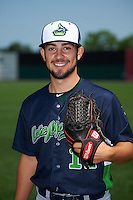 Vermont Lake Monsters pitcher Brandon Bailey (12) poses for a photo before a game against the Auburn Doubledays on July 13, 2016 at Falcon Park in Auburn, New York.  Auburn defeated Vermont 8-4.  (Mike Janes/Four Seam Images)