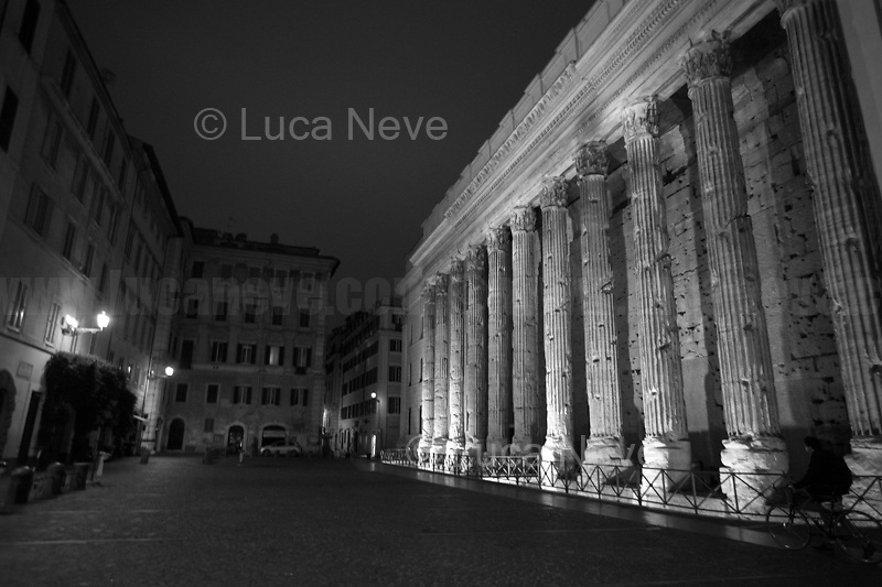 """Piazza della Pietra. <br /> <br /> Rome, 23/10/2020. Documenting the """"curfew"""" (coprifuoco) imposed from Friday night in Rome and its surrounding Lazio Region. The local authorities tightened rules and restrictions due to a spike in the Covid-19 / Coronavirus cases. 23 October bulletins sees 19.143 new cases, 91 people died, 182.032 tests made. Today, the President of Lazio Region, Nicola Zingaretti (Leader of the Democratic Party, PD, party member of the Italian Coalition Government), imposed the night curfew, from midnight to 5AM, for 30 days (1.). A new self-certification (autocertificazione, downloadable from here 1.) is needed to leave home which is allowed only for urgent reasons, mainly work and health. Furthermore, the Mayor of Rome, Virginia Raggi, implemented """"no-go zones"""" restrictions from 9PM in some of the areas and squares of the Eternal City famous for the nightlife, including Campo de' Fiori, Via del Pigneto, Piazza Trilussa in Trastevere district and Piazza Madonna de' Monti.<br /> <br /> Footnotes & Links:<br /> 1. http://www.regione.lazio.it/binary/rl_main/tbl_news/ordinanza_regione_lazio_intesa_Ministro_salute__mod_accettate_rev1__ore_24_1_signed.pdf<br /> <br /> March 2020, Coronavirus lockdown in Rome:<br /> - 12.03.2020 - Rome's Lockdown for the Outbreak of the Coronavirus In Italy - SARS-CoV-2 - COVID-19: https://lucaneve.photoshelter.com/gallery/12-03-2020-Romes-Lockdown-for-the-Outbreak-of-the-Coronavirus-In-Italy-SARS-CoV-2-COVID-19/G0000jGtenBegsts/<br /> - 07-23.03.2020 - Villaggio Olimpico Ai Tempi del COVID-19 - Rome's Olympic Village Under Lockdown: https://lucaneve.photoshelter.com/gallery/07-23-03-2020-Villaggio-Olimpico-Ai-Tempi-del-COVID-19-Romes-Olympic-Village-Under-Lockdown/G0000D2L9l0ibXZI/"""