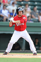 First baseman hitter Tim Roberson (25) of the Greenville Drive bats in a game against the Augusta GreenJackets on Sunday, July 13, 2014, at Fluor Field at the West End in Greenville, South Carolina. Greenville won, 8-5. (Tom Priddy/Four Seam Images)