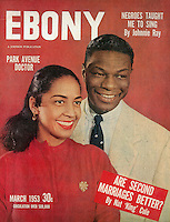 Ebony cover, Nat King Cole and second wife, March 1953. Photograph by John G. Zimmerman.