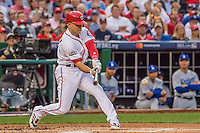 7 October 2016: Washington Nationals infielder Danny Espinosa in action during the NLDS Game 1 against the Los Angeles Dodgers at Nationals Park in Washington, DC. The Dodgers edged out the Nationals 4-3 to take the opening game of their best-of-five series. Mandatory Credit: Ed Wolfstein Photo *** RAW (NEF) Image File Available ***
