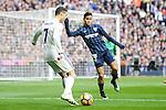 Real Madrid's Cristiano Ronaldo and Malaga CF's Roberto Jose Rosales during La Liga match between Real Madrid and Malaga CF at Santiago Bernabeu Stadium in Madrid, Spain. January 21, 2017. (ALTERPHOTOS/BorjaB.Hojas)