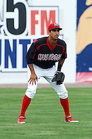 Batavia Muckdogs outfielder David Popkins #36 during a NY-Penn League game against the Williamsport Crosscutters at Dwyer Stadium on August 26, 2012 in Batavia, New York.  Batavia defeated Williamsport 7-1.  (Mike Janes/Four Seam Images)