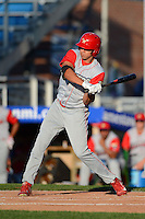 Williamsport Crosscutters outfielder Dylan Cozens #18 during a game against the Jamestown Jammers on June 20, 2013 at Russell Diethrick Park in Jamestown, New York.  Jamestown defeated Williamsport 12-6.  (Mike Janes/Four Seam Images)