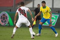 13th October 2020; National Stadium of Peru, Lima, Peru; FIFA World Cup 2022 qualifying; Peru versus Brazil;  Casemiro of Brazil takes on Yotún of Peru