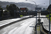 Wellington urban motorway at 10.30am, Monday during Level 4 lockdown for the COVID-19 pandemic in Wellington, New Zealand on Monday, 30 August 2021.