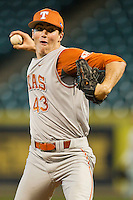 Relief pitcher John Curtiss #43 of the Texas Longhorns in action against the Tennessee Volunteers at Minute Maid Park on March 3, 2012 in Houston, Texas.  The Volunteers defeated the Longhorns 5-4.  Brian Westerholt / Four Seam Images