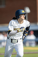 Michigan Wolverines first baseman Jake Marti (7) runs to first base against the Michigan State Spartans on March 22, 2021 in NCAA baseball action at Ray Fisher Stadium in Ann Arbor, Michigan. Michigan State beat the Wolverines 3-0. (Andrew Woolley/Four Seam Images)