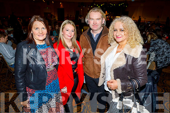 Eileen Quilter (Lixnaw), Noreen Flaherty (Lixnaw), Tommy and Charmaine Laide (Ballymac) enjoying the Bon Jovee fundraiser in the Brandon Hotel on Saturday.