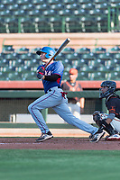 AZL Rangers left fielder Kobie Taylor (3) follows through on his swing during an Arizona League game against the AZL Giants Black at Scottsdale Stadium on August 4, 2018 in Scottsdale, Arizona. The AZL Giants Black defeated the AZL Rangers by a score of 3-2 in the first game of a doubleheader. (Zachary Lucy/Four Seam Images)