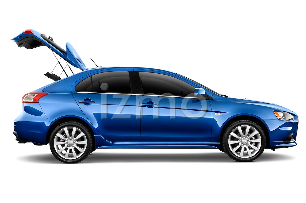 Passenger side profile view of a 2010 Mitsubishi Lancer Sportback.