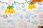 NEW MILFORD, CT-123120JS04- One of the walls inside the farmstead at the Boardman Bridge Farmers Market in New Milford is adorned with thanks and well wishes from visitors and guests. Joe Quaranta owner of the market is the founder of Helping Hands for Heroes, an organization that gives back to the Greater New Milford community. <br /> Jim Shannon Republican-American