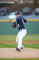 Wingate Bulldogs starting pitcher Hunter Dula (17) in action against the Concord Mountain Lions at Ron Christopher Stadium on February 1, 2020 in Wingate, North Carolina. The Bulldogs defeated the Mountain Lions 8-0 in game one of a doubleheader. (Brian Westerholt/Four Seam Images)