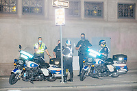 Police stand ready with motorcycles at the corner of Boylston and Tremont Streets in Boston, Massachusetts, on Fri., Sept. 25, 2020, as protestors marched nearby to demand justice for the police killing of Breonna Taylor after this week's announcement that the Louisville, Kentucky, police officers would not be charged. The group marched from Nubian Square in Roxbury to the Boston Police Department Headquarters and then to downtown Boston. The killing of Breonna Taylor, along with the killing of other people of color by police in 2020 and previously, has led to widespread protest and demonstration throughout the country. This week's decision not to charge the officers in her killing has led to a recharged protest movement in Boston and elsewhere. <br /> <br /> City and state officials stated that they did not want a repeat of the violence of the May 31 protests and stationed police around downtown and had National Guard soldiers ready to respond.